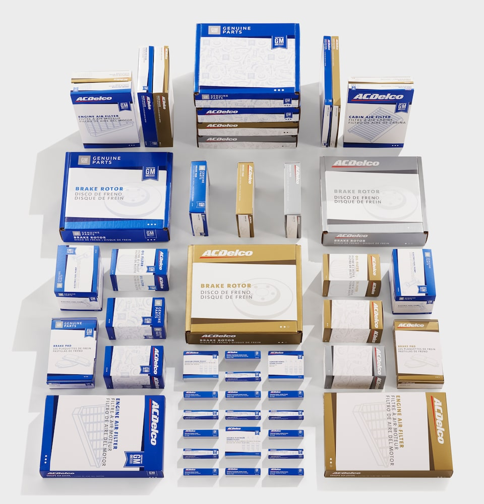 ACDelco & GM Genuine New Parts Packaging Display -  Blue (OE), Gold, & Silver